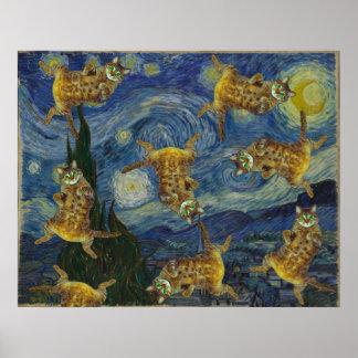 """Cats rock in Van Gogh's """"Starry Night"""" Poster"""