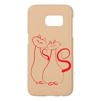 Cats Romantic Sketch Red Peach Samsung Galaxy S7 Case