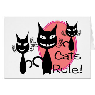 """Cats Rule!!""--Cat Lovers Gifts--Adorable Greeting Cards"
