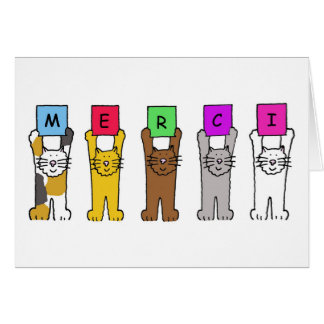 Cats saying 'Merci', thanks in French. Greeting Card