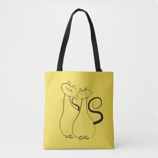 Cats Sketch Love Flirting Yellow Tote Bag