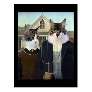 Cats spoof American Gothic postcard