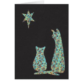 cats stargazing card