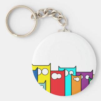 cats town basic round button keychain