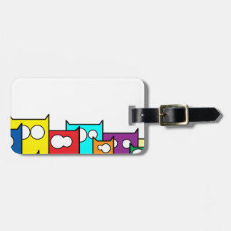 cats town luggage tag