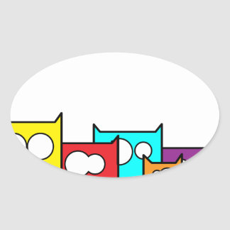 cats town oval sticker