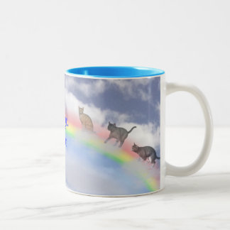 Cats Waiting At Rainbow Bridge Two-Tone Coffee Mug