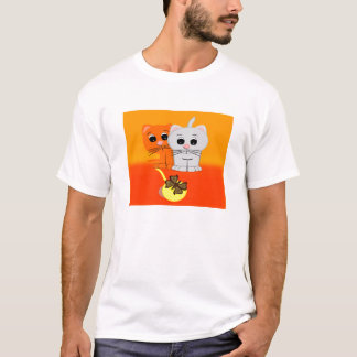 Cats Watching Butterfly On A Ball Of Yarn T-Shirt