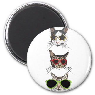 Cats Wearing Sunglasses 2 Inch Round Magnet