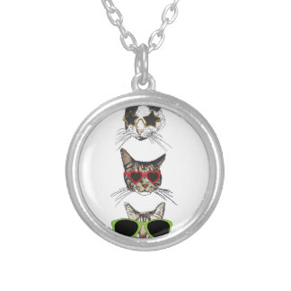 Cats Wearing Sunglasses Silver Plated Necklace