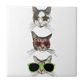 Cats Wearing Sunglasses Tile