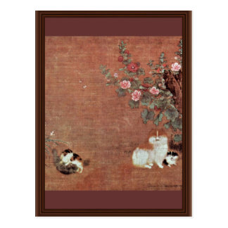 Cats With Boys In A Garden By Mao I (Best Quality) Postcard