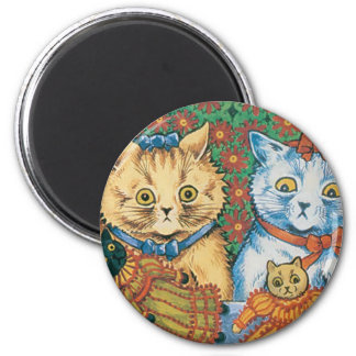 Cats with Dolls Artwork by Louis Wain Magnet