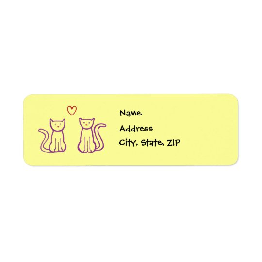 Cats with Heart Return Address Label