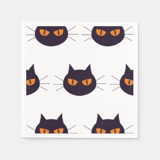 Cats with orange eyes Halloween Paper Napkin