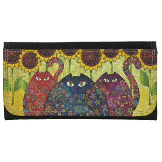 Cats With Sunflowers Leather Wallet