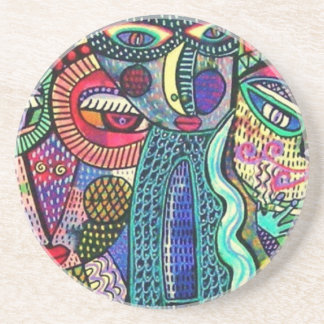cats woman- by Sandra Silberzweig Beverage Coaster