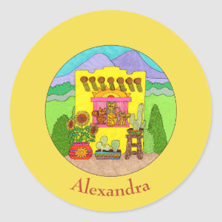 Cats & Yellow Adobe House Custom Name Classic Round Sticker