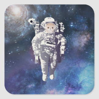 Catstronaut - Cat in Space Square Sticker