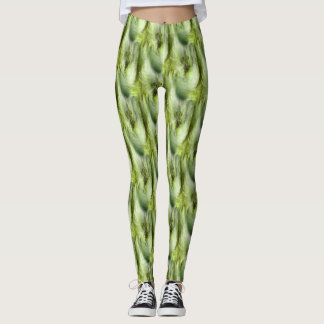 Cattail Fluff Nature Abstract Pattern Leggings