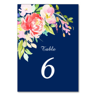 Cattails and Floral on Navy Blue Wedding Card