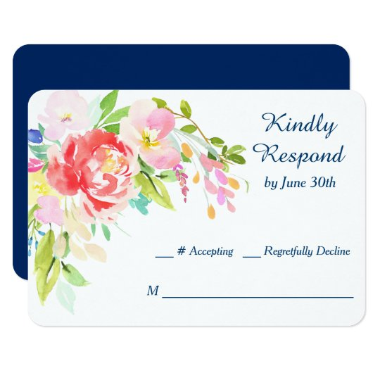 Cattails and Floral on Navy Blue Wedding RSVP Card