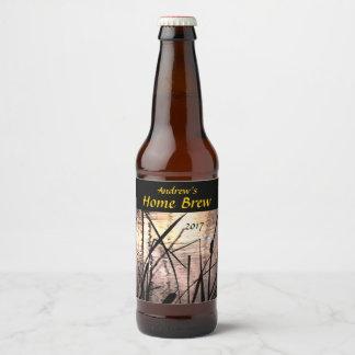 Cattails at Pink Sunset Pond Beer Label