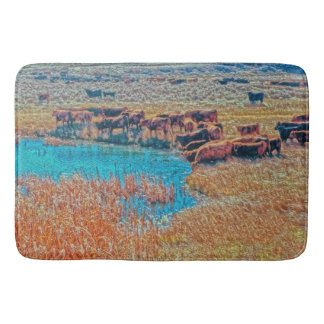 Cattails, Cattle and Sage Bath Mat Western Cattle
