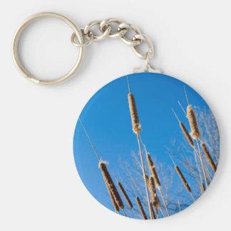cattails of winter basic round button keychain