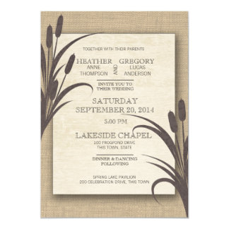 Cattails Rustic Lake Wedding Card