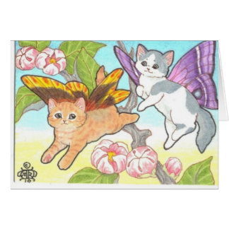 Catterflies Playing Sky Tag  Near Spring Flowers Card