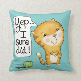 Cattitude- Cat Spills Coffee Throw Pillow
