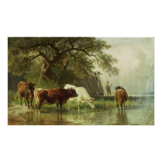 Cattle Watering in a River Landscape Poster