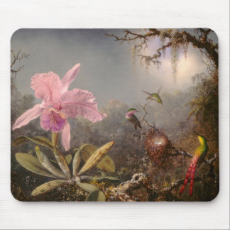 Cattleya Orchid and Three Hummingbirds Mouse Pad