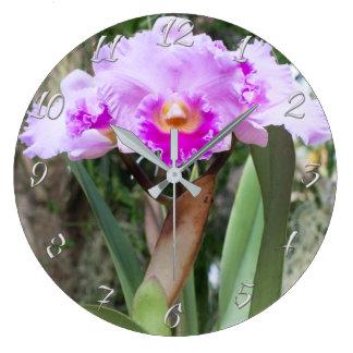 Cattleya Orchid Purple Flowers Large Clock
