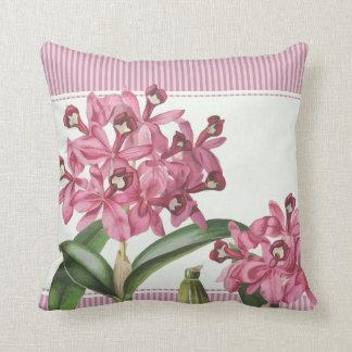 Cattleya Pink Orchid Throw Pillow
