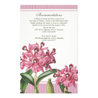 Cattleya Pink Orchid Wedding Directions Stationery