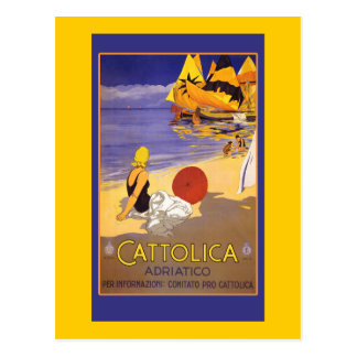 Cattolica Adriatico Vintage Travel Art on Cards Post Cards