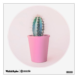 Catus in pink pot wall sticker