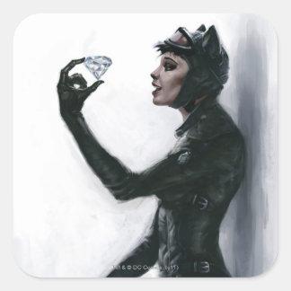 Catwoman Illustration Square Sticker
