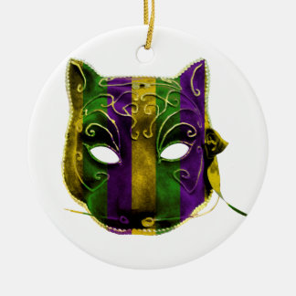 Catwoman Mardi Gras Mask Ceramic Ornament