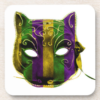 Catwoman Mardi Gras Mask Drink Coaster