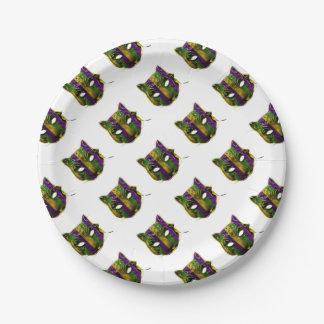 Catwoman Mardi Gras Mask Paper Plate