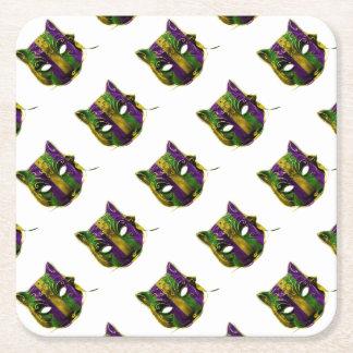Catwoman Mardi Gras Mask Square Paper Coaster