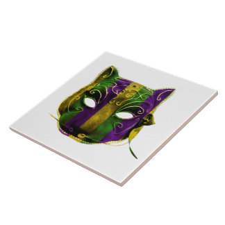 Catwoman Mardi Gras Mask Tile