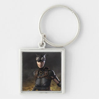 Catwoman Silver-Colored Square Keychain