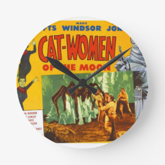 Catwomen on the Moon Round Clock