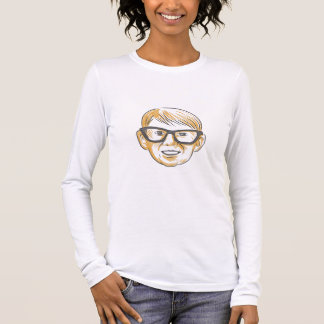 Caucasian Boy Glasses Head Smiling Drawing Long Sleeve T-Shirt