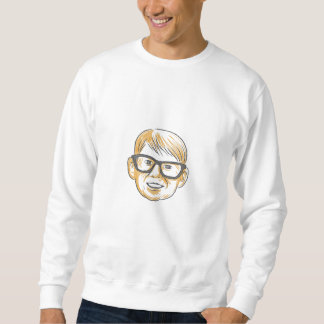 Caucasian Boy Glasses Head Smiling Drawing Sweatshirt