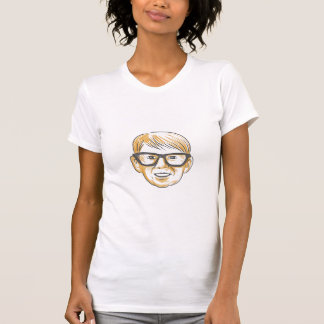 Caucasian Boy Glasses Head Smiling Drawing T-Shirt